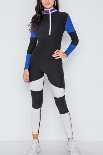 Blue Black Color Block Long Sleeve Zip-up Jumpsuit