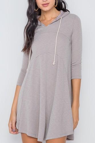 3/4 Sleeve Knit Hooded Mini Dress