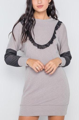 Mash Detail Mini Sweater Dress