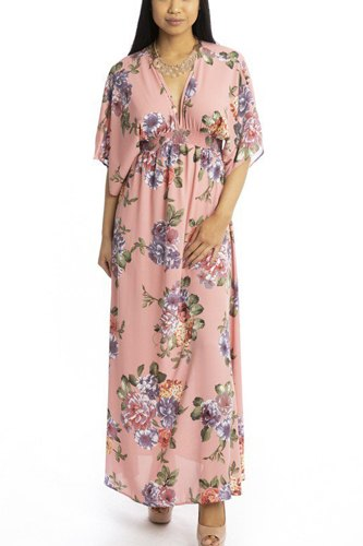 Floral Print Kimono Style Summer Dress