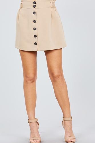 High Waist Smocking Detail Button Down Mini Skirt