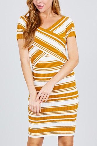 Short Sleeve V-neck W/cross Wrap Multi Stripe Sweater Dress