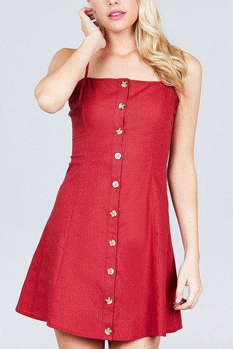Button Down Cami Linen Mini Dress