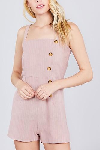 Button Down Yarn Dye Stripe Cami Linen Romper