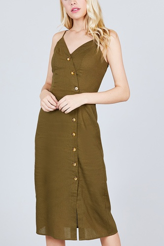 V-neck Surplice Button Down Midi Linen Dress