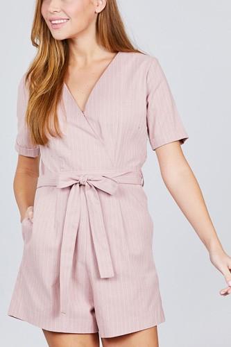 Short Sleeve V-neck Surplice W/waist Belt Stripe Romper