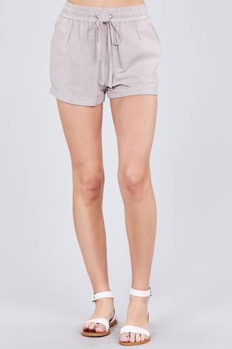 Waist Elastic W/drawstring Yarn Dye Stripe Short Pants