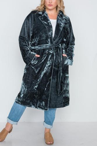 Plus Size Velvet Long Sleeve Trench Coat