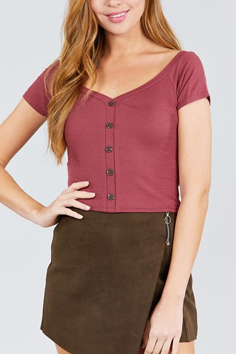 Short Sleeve Off The Shoulder Neckline Button Down Rayon Spandex Rib Knit Top
