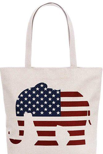 Us Flag Elephant Print Canvas Tote Bag