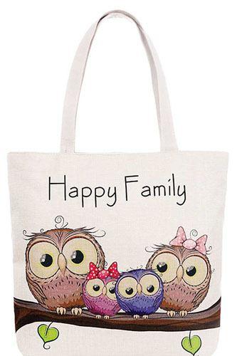 Cute 4 Owl Happy Family Cartoon Print Canvas Tote Bag