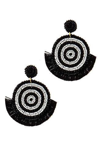 Chic Multi Bead And Fan Tassel Earring