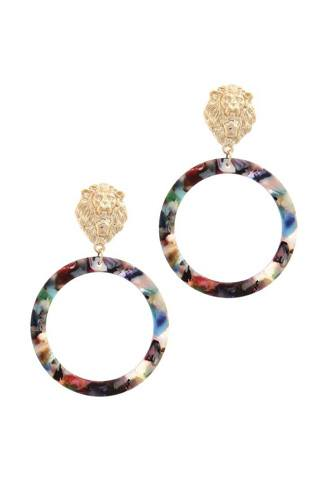 Acetate Ring Lion Linked Drop Earring