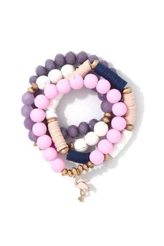 Multi Bead Flamingo Charm Stretch Bracelet Set
