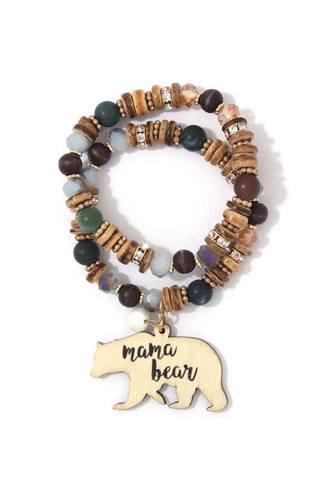 Mama Bear Charm Beaded Stretch Bracelet Set