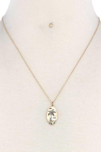 Palm Tree Oval Shape Necklace