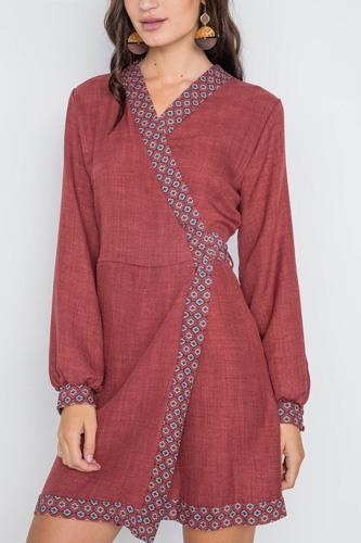 Rust Contrast Trim Long Sleeve Wrap Dress