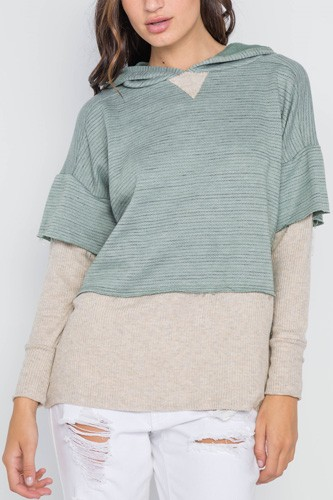 Dark Sage Combo Hooded Long Sleeve Sweater