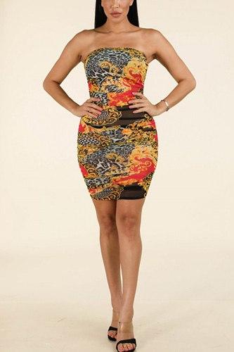 Side Ruching Tube Dress