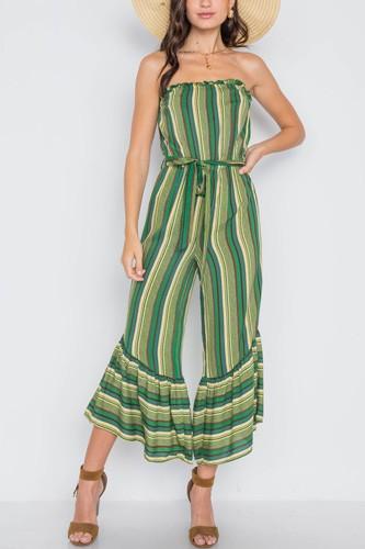 Stripe Strapless Flare Leg Jumpsuit