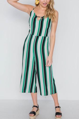 Green Stripe Cami Wide Leg Capri Jumpsuit