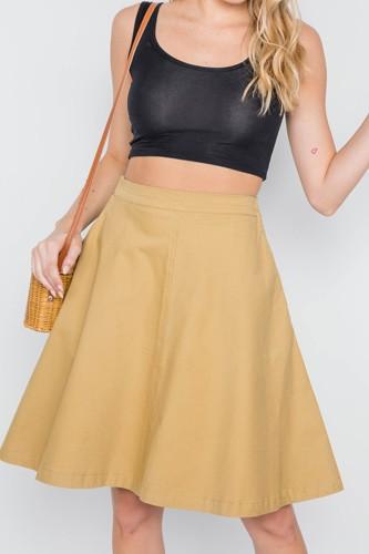 Khaki High Waist Solid A-line Midi Skirt