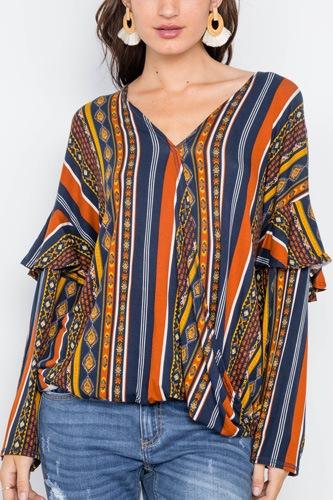 Rust Multi V-neck Stripe Geo Print Long Sleeve Top
