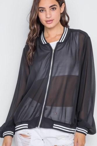 Black Sheer Contrast Trim Long Sleeve Light Jacket