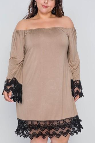 Plus Size Off-the-shoulder Lace Hem Dress