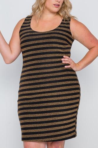 Plus Size Black Gold Stripe Bodycon Mini Dress