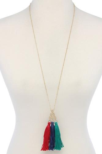 Multi Color Tassel Necklace