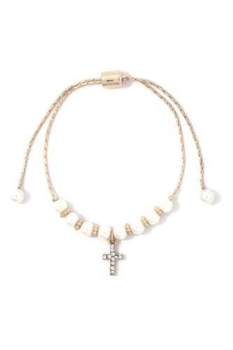 Rhinestone Cross Dangle Pearl Adjustable Bracelet