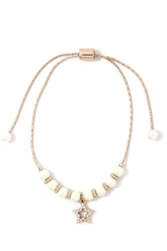 Rhinestone Star Charm Pearl Adjustable Bracelet