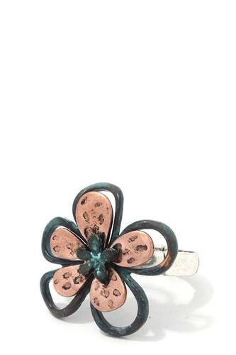 Two Tone Flower Stretch Ring