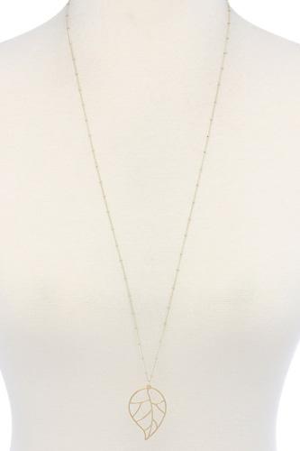 Cutout Metal Leaf Pendant Necklace