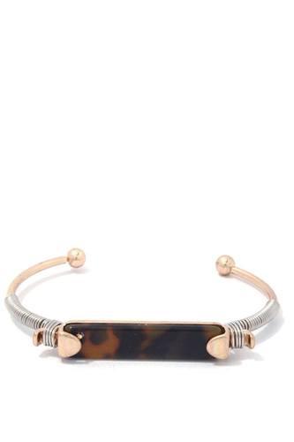 Acetate Bar Wire Wrapped Cuff Bracelet