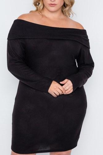 Plus Size Black Off-the Shoulder Long Sleeve Dress
