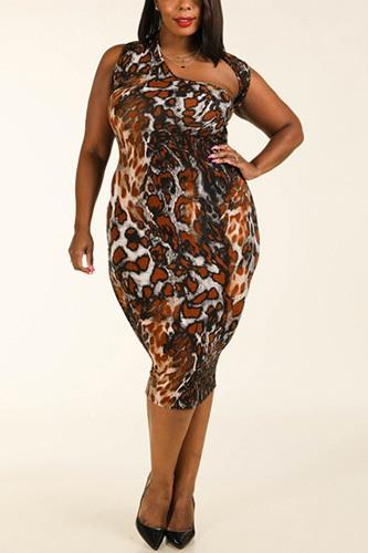 Leopard Around The Neck Sleeveless Bodycon Dress