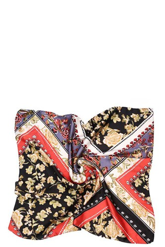 Mixed Pattern Silky Scarf