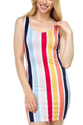 Multi-color Stripe Crepe Dress