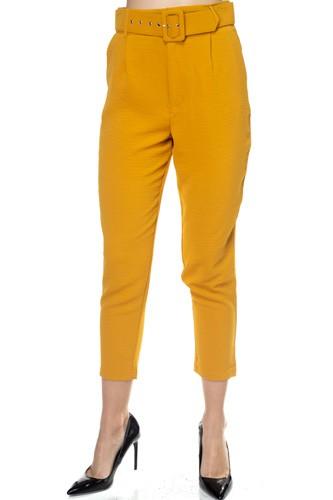 Crinkled Belted Skinny Pants