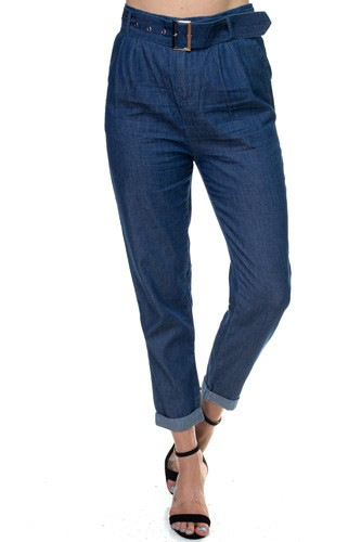 Belted Chambray Pants