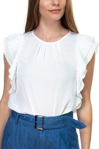 Accordion Pleated Short Sleeve Shirt