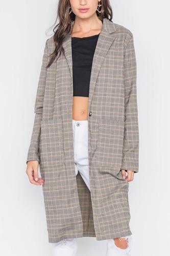 Plaid Single Button Long Sleeve Blazer