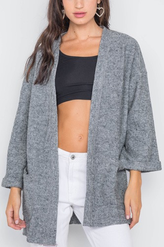 Heather Gray Open Front Cardigan