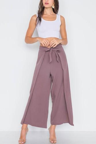 High-waist Front-tie Wide Leg Pants