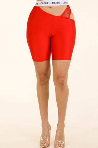 Fishnet Contrast Cutout Shorts