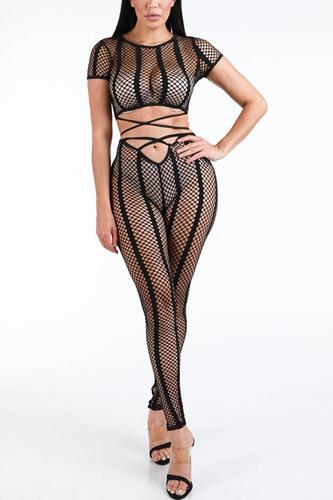 Fishnet Stripe Strappy Top & Leggings Set