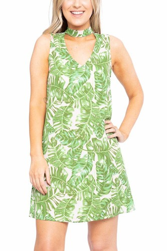 Hawaiian Leaf Print, Sleeveless, A-line Dress
