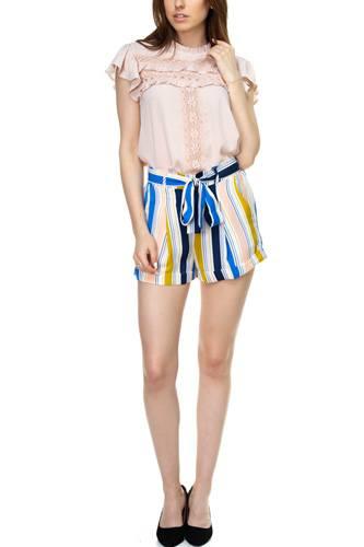 Multi-color Stripe Cuffed Shorts